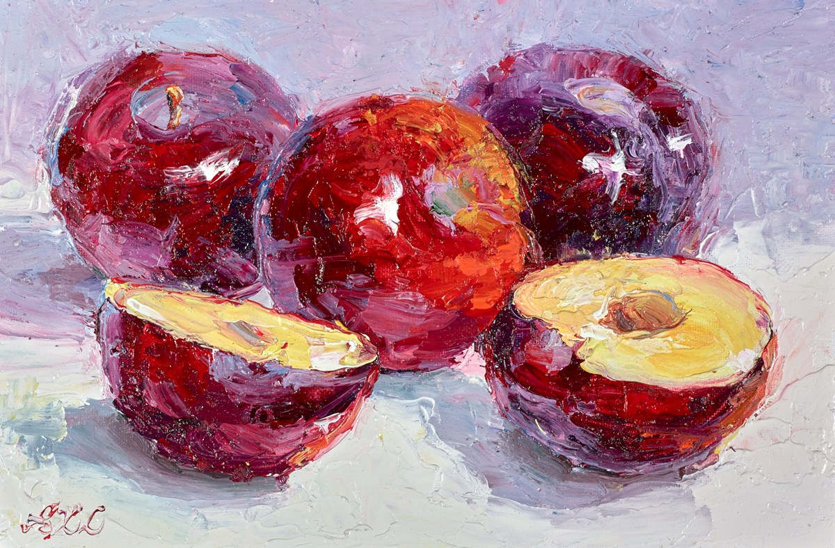 Red Plums IV by lana okiro -  sized 9x6 inches. Available from Whitewall Galleries